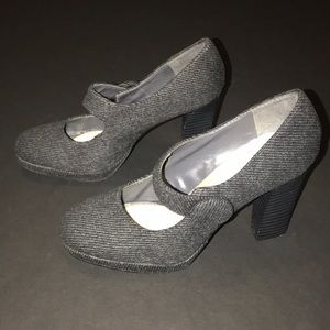 Shoes - Grey fabric Mary Janes